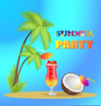 summer party advertisement banner with tall palms vector image vector image