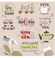 teatime quote set lettering hand drawn cup vector image vector image