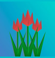 three paper cut tulips on blue background collage vector image