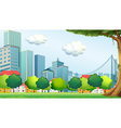 Trees near the tall buildings vector image