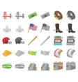 usa country cartoonmonochrom icons in set vector image