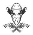 vintage monochrome cowboy skull vector image vector image
