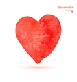 Watercolor painted red heart vector image