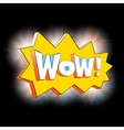 Wow lettering in cartoon comic bubble black vector image vector image