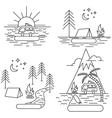 Nature line icon landscapes vector image