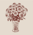 a bunch of roses in flower vase hand drawing vector image vector image