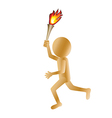 a running golden 3d man carrying a torch isolated vector image vector image