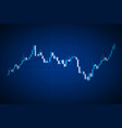 blue candlestick chart on blue background trading vector image vector image
