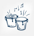 bongo sketch isolated design vector image vector image