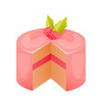 cake close-up with glaze cream mousse vector image vector image