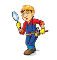 Cartoon Builder Searching vector image vector image