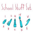 cartoon flat school set icon stickers vector image vector image