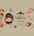 cartoon meat products colorful template vector image