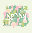 cartoon spring blossom forest hello spring vector image vector image
