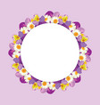 chamomile and pansies frame on pink purple vector image vector image