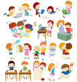 Children doing activities at school vector image vector image