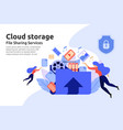 cloud storage service file sharing center service vector image vector image