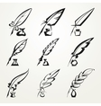collection feather pen and ink vector image