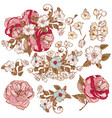 collection of detailed flowers for design vector image