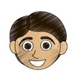 color pencil caricature front face boy with short vector image vector image