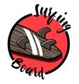 Color vintage surfing emblem vector image vector image