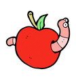 comic cartoon worm in apple vector image