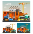 Construction And Machines Compositions Set vector image vector image