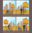 couples and biker woman with phone set vector image vector image