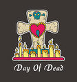 Day of deadGrave candles with heart and skull vector image vector image