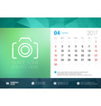 Desk Calendar Template for 2017 Year April Design vector image vector image