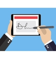 Digital signature on tablet vector image vector image