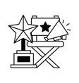 director chair trophy and megaphone cinema movie vector image