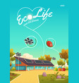 eco life poster solar panels and zero waste vector image