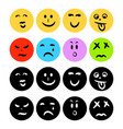emoticon icons flat circle shape with hand drawn vector image vector image