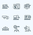 engine icons line style set with budget calculator vector image