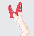 female legs and her favorite red shoes vector image vector image