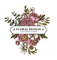 floral bouquet design with colored ficus vector image
