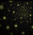 gold light stars on black background vector image vector image