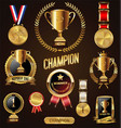 gold trophy and medal with laurel wreath vector image vector image