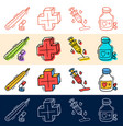 hand draw medical plus pill icon set in doodle vector image