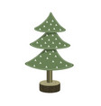 handmade christmas tree toy from felt on wooden vector image
