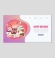 happy birthday sweets festive web template vector image