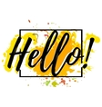 Hello Salutatory card with lettering vector image