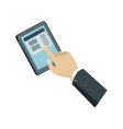human hand with tablet computer isometric icon vector image vector image