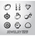Jewelry monochrome freehand icons set with - rings vector image