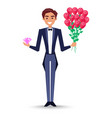 joyful man in jacket with bow-tie holding bouquet vector image vector image