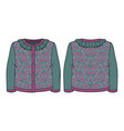 knitted jacquard cardigan vector image vector image