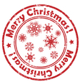 merry christmas snowflakes stamp vector image