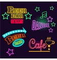 Neon Signs of Cafe Beer and Bar Isolated vector image vector image