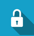 open padlock icon with long shadow lock symbol vector image